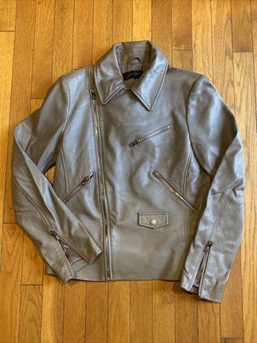Zara Woman Genuine Lambskin Gray Leather Jacket -