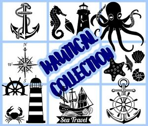 Nautical-Maritime-Collection-Wall-Stickers-Removable-Car-Laptop-Fridge-Decals-UK