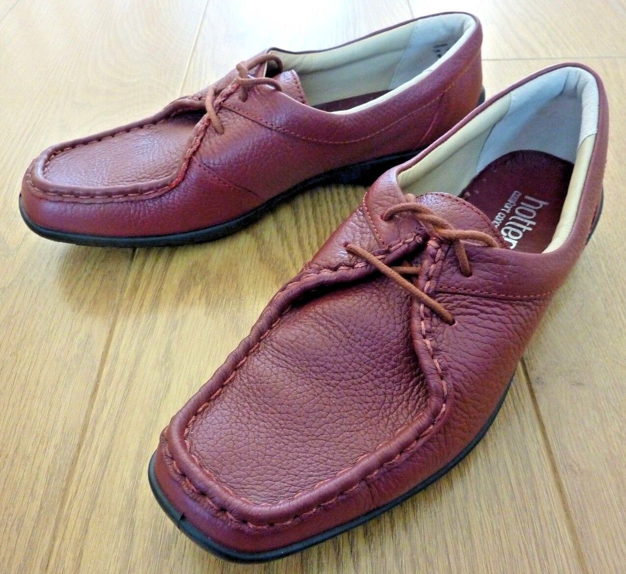 Hotter VANA Ladies Lace up Burgundy Red Leather shoes Size UK 6 S EU 39