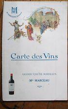 Bordeaux Wine/Vin 1920 French Advertising Menu - Min Marceau, Grands Vins