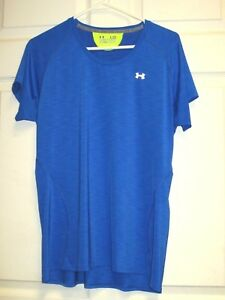 UNDER-ARMOUR-Run-Heat-Gear-Royal-Blue-Semi-Fitted-Athletic-Shirt-Men-039-s-Size-L