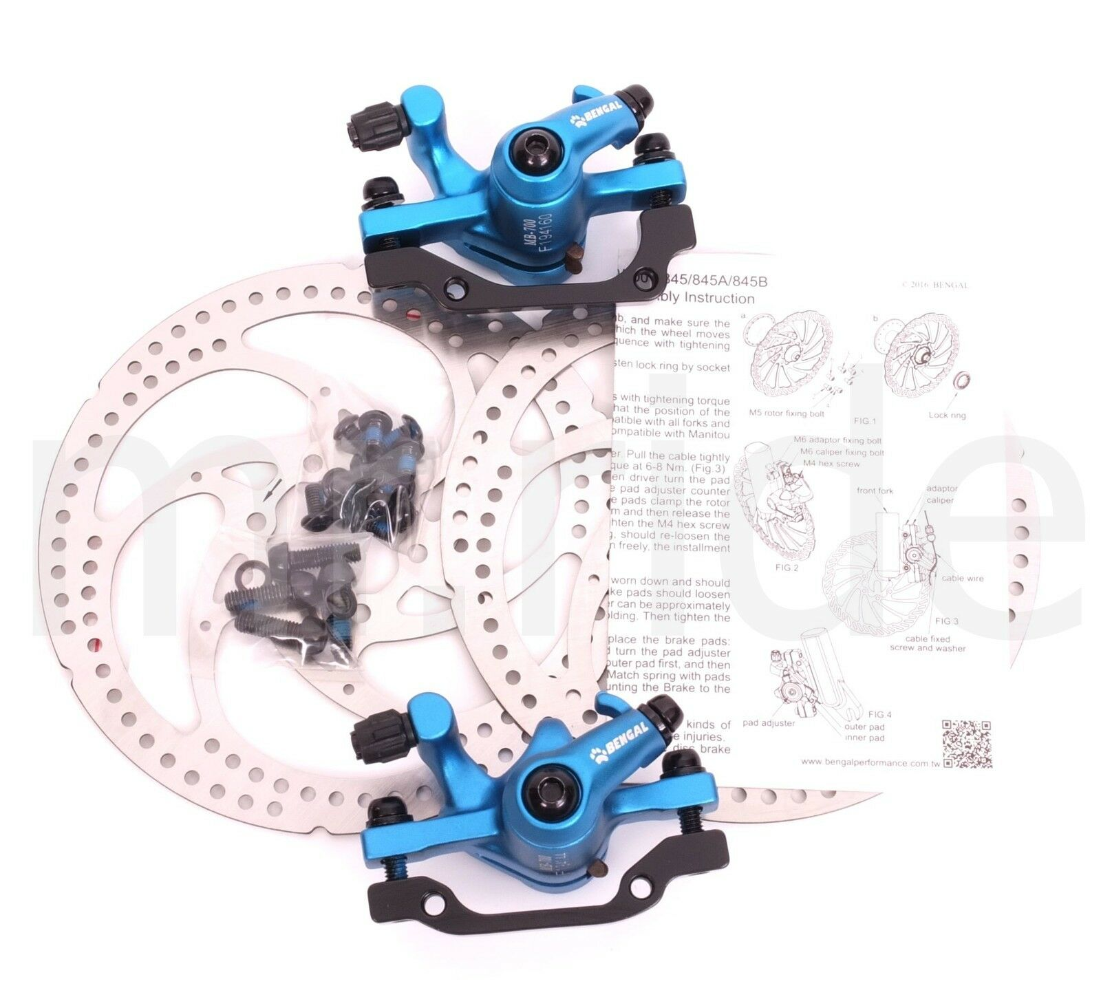 Bengal Alloy Mechanical Disc Brake Caliper Set w  160mm redors bluee PAIR