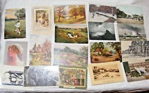 JOB-LOT-18-ANTIQUE-AND-VINTAGE-PHOTOGRAPHIC-amp-ART-POSTCARDS-TUCKS-MEISSNER-BUCH