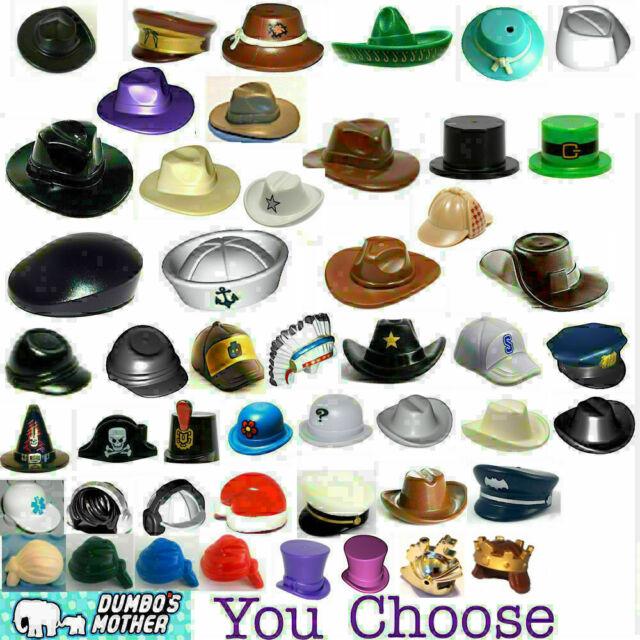 LEGO Bulk Assorted Minifigure Black Hats Headwear Lot 50 pieces