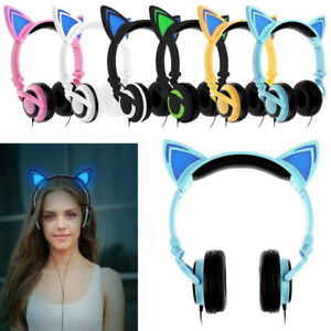 Cute Foldable Cat Ear Headset LED Lights Glowing Headphones Earphone Universal