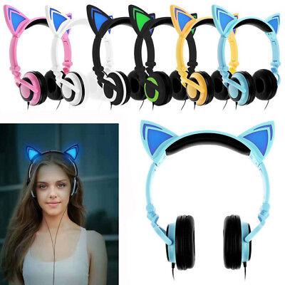 Cute Foldable Cat Ear Headset LED Lights Glowing Headphones Earphone Universal
