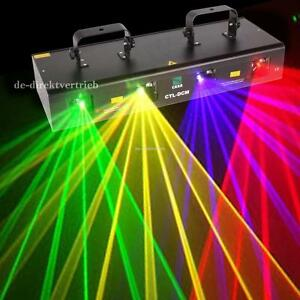 4-Lens-4-Beam-RGPY-DJ-Disco-Laser-Light-Stage-Party-Show-DMX-7CH-460mW