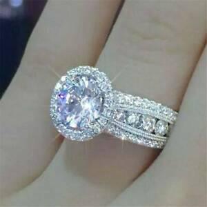 Fashion-Shine-Women-925-Silver-Rings-White-Sapphire-Wedding-Ring-Size-6-10-Gift