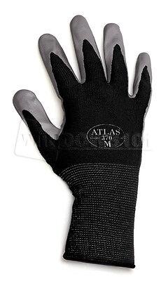 12 Pairs Black Atlas Showa 370 Nitrile Gloves Garden Auto Work Paint Landscaping