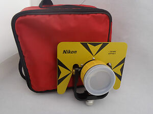 Yellow color single prism with red Bag for nikon total station 5/8x11 thread