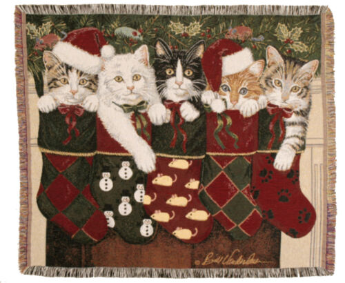 50x60 Christmas KITTENS Cat Holiday Tapestry Afghan Throw Blanket