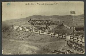 Oneonta-NY-c-1910s-Postcard-D-amp-H-Railroad-River-Street-LOWER-VIADUCT