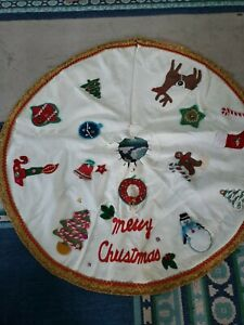 Details about Vintage Handmade Felt Sequins Beaded White Christmas Tree  Skirt Mid Century