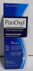 Panoxyl Benzoyl Peroxide Foaming Acne Wash 10% 5.5oz -New