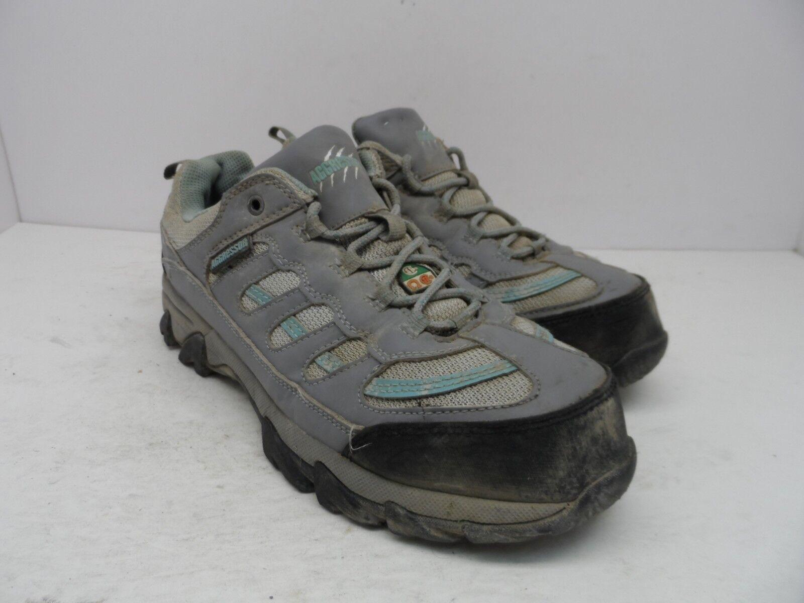 Aggressor Women's Steel Toe Steel Plate Approach Hiking Shoes Grey/Blue Size 9M