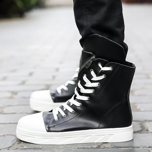 Gothic Mens Platform Fashion Korean shoes Lace Up Side Riding Combat Boots