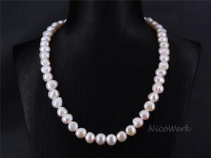 Perlenkette-Barockperle-9-10mm-Collier-Weiss-Echte-Perlen-Zuchtperlen-Kurz-Kette