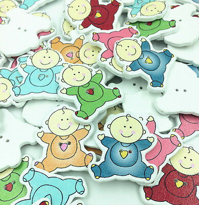 FREE DIY Mixed Wood Sewing Buttons Painted Lovely Baby 2 Holes 34mm