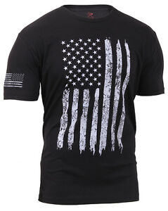 Patriotic-Athletic-Fit-Distressed-USA-US-Flag-Mens-T-shirt-Black-Rothco-2901