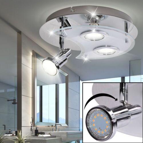 Luxus LED Decken Spot Strahler Bad Lampe Chrom Dielen Beleuchtung verstellbar