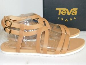 682f33ab8a0a NEW WOMENS SIZE 8 TAN TEVA AVALINA CROSSOVER LEATHER SANDALS FLAT ...