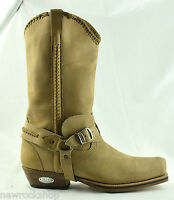 Loblan 548 Tan Beige Leather Mens Cowboy Boots Biker Square Chisel Toe Western