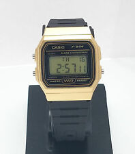CASIO Casual F91W Classic Alarm Chronograph Model W/R F91WM-9 BLACK & GOLD