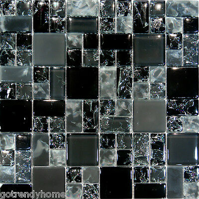 1SF-Black Polish & Matte Square Pattern Crackle Glass Mosaic Tile Wall Kitchen