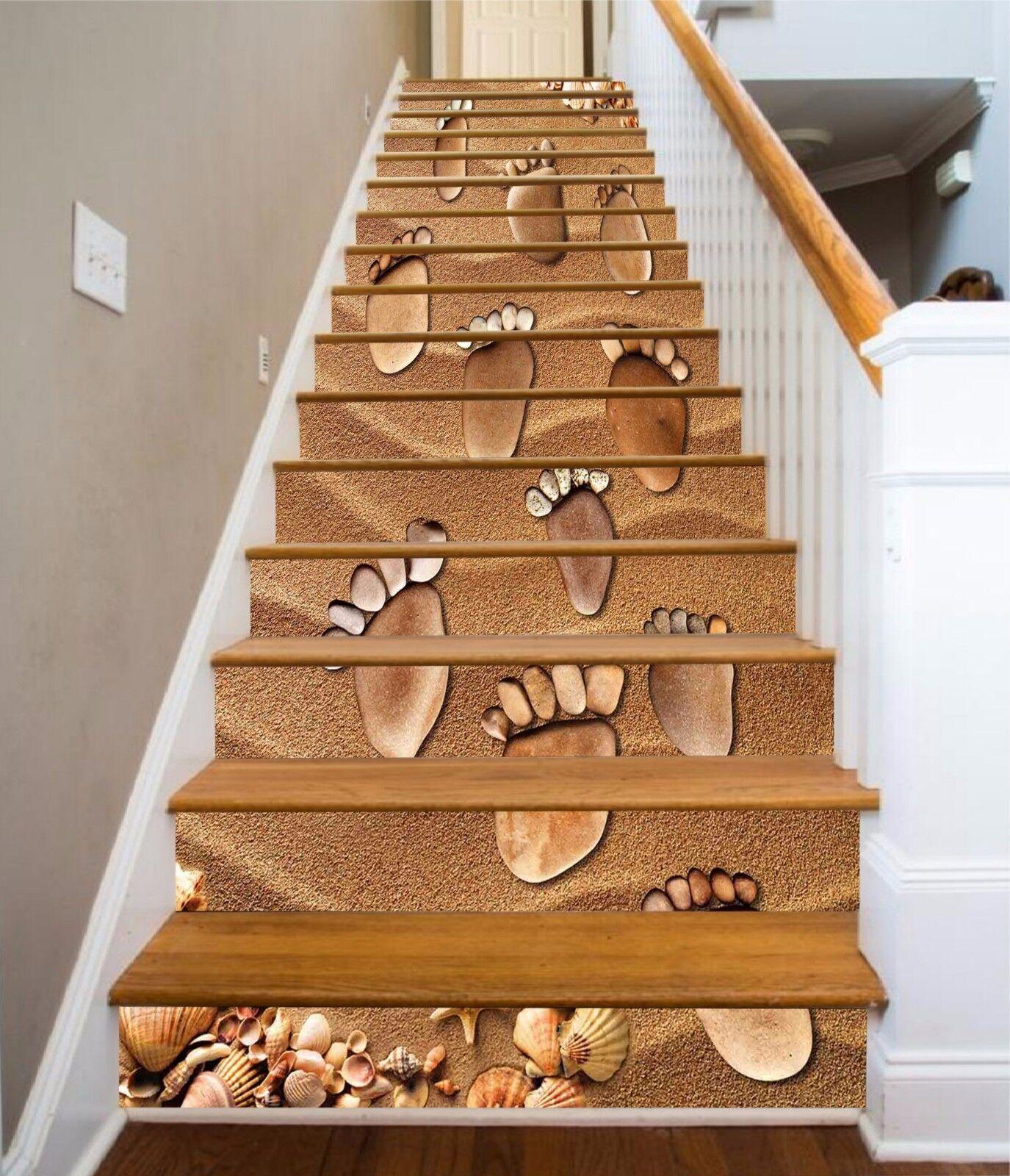3D Beach Footprint 8Stair Risers Decoration Photo Mural Vinyl Decal Wallpaper AU