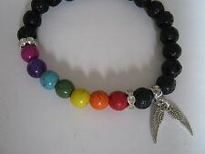 Lava Stone Chakra Bead Bracelet &Velvet Gift Bag + Guardian Angel Wings Charm