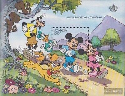 Mnh 1990 Walt-disney-cifre 100% High Quality Materials Uganda Block 123 completa Edizione