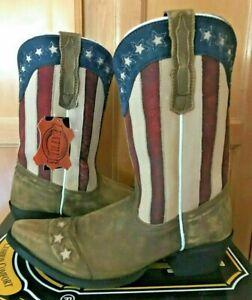 eb7f7bd552a Details about NEW NIB Dan Post Big Kids Girls Lil' Liberty Flag Cowboy  Boots Size 6