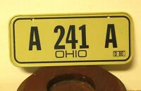"OHIO miniature bike license-plate ""A-241-A"" cereal giveaway 1980 metal mini toy"
