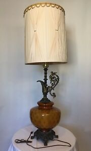 Vintage Mid Century 1972 3 Way Table Lamp Ef Industries Amber Glass