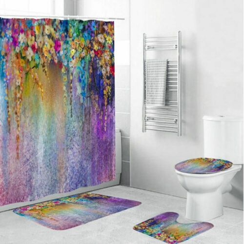 Floral Shower Curtain Blooming Flowers Artsy Print for Bathroom 71Inch Long