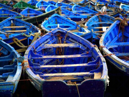 MOROCCAN BLUE SEA FISHING BOATS PHOTO ART PRINT POSTER PICTURE BMP2028B
