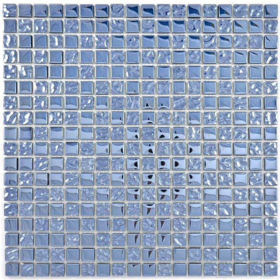 Mosaïque translucide crystal verre EP platinum cuisine mur 92-0327_f  10 plaques