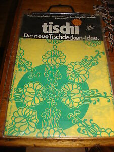 Vintage-Retro-TABLECLOTH-Germany-GREEN-FLORAL-ON-YELLOW-Paper-Washable-160x120cm