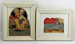 Adorable-Vintage-Valentines-Cards-Framed-Late-30-039-s-Early-40-039-s-Set-Of-2