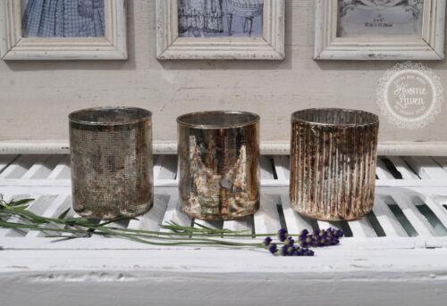 3 Set Teelichthalter Windlicht Kerzenglas gold silber Vintage Landhaus Shabby