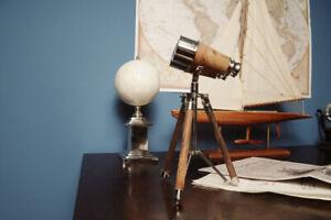 Victorian-Vintage-Wood-amp-Brass-Binoculars-w-Stand-Nautical-Display-Decor-Replica