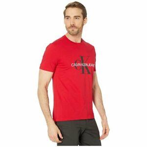 BNEW Calvin Klein Monogram Logo Crewneck T-Shirt, Tango Red, XLarge