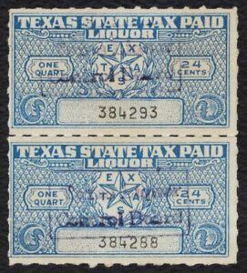 24c Texas Licor Tax Pair-Pair, Usado [1] Cualquier 5=