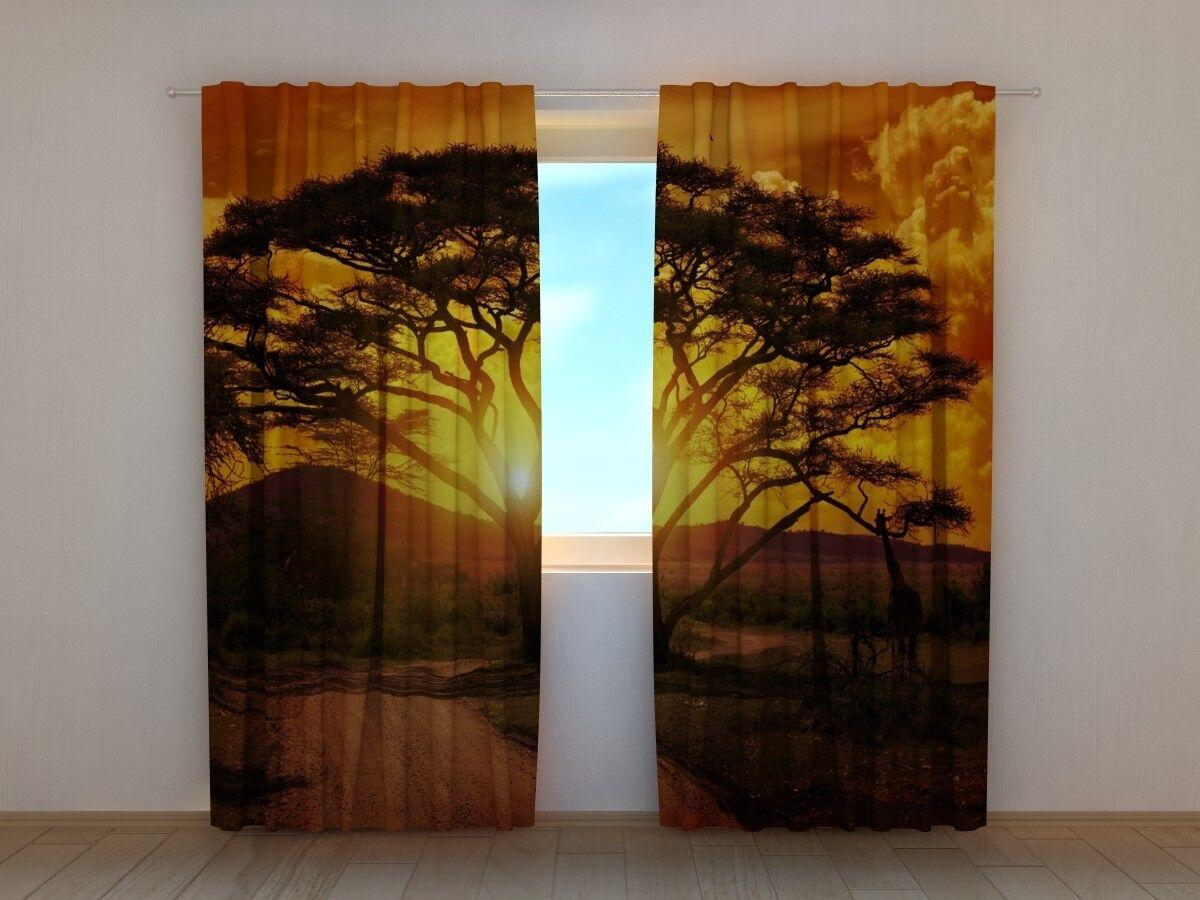 Foto  Puesta de sol de África  cortinas de impresión 3D cortina, motivo de cortina foto en medida