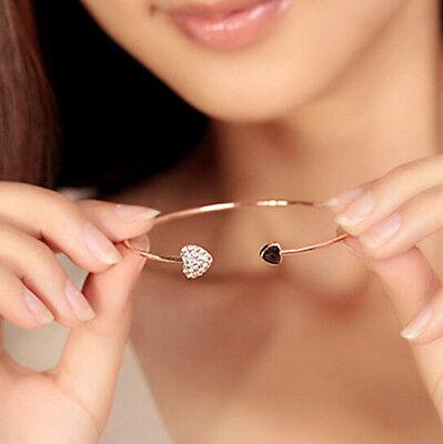 Women New Simple Style Bangle Golden Rhinestone Love Heart Cuff Bracelet Jewelry