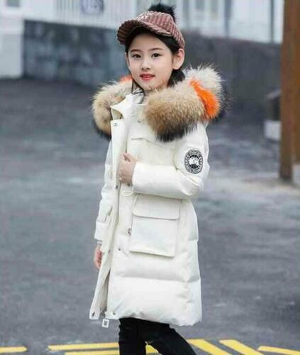 Kids Girls Padded School Quilted Winter Coat Jacket Puffer Fur Hooded Long Parka