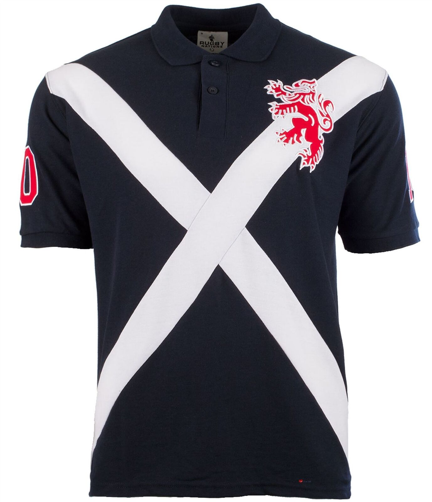 Gents Polo Shirt In Saltire With Small Rampant Lion Design In Navy Größe Large