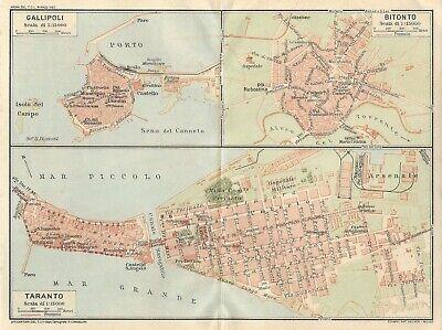 Cartina Geografica Italia Gallipoli.Gallipoli Bitonto Taranto Mappa Touring Club 1926 Carta Geografica Ebay