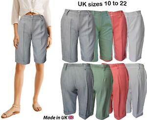 Mujer Pantalones Cortos Rodilla Alto Bermudas Verano A Medida Vintage 90 S Mas Ebay