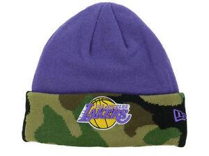 e4b0bf26211484 Los Angeles Lakers New Era NBA Salute to Service Camo Cuff Knit Hat ...